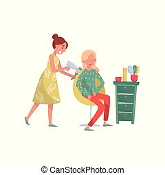 Hairdresser cutting and drying hair for her female client at beauty saloon vector Illustration on a white background