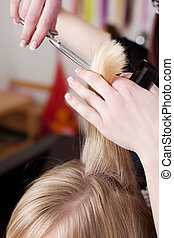 Hairdresser cutting blond hair in a hair salon using a pair...