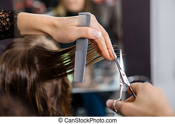 Hairdresser Cutting Customer's Hair In Salon