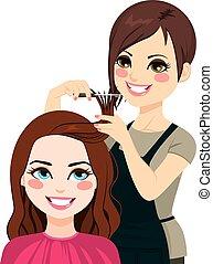 Hairdresser Cutting Fringe - Professional hairdresser ...