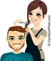 Hairdresser Cutting Man Hair - Professional hairdresser...