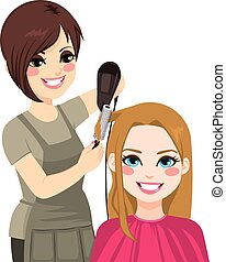 Hairdresser Drying Hair - Beautiful hairdresser working ...