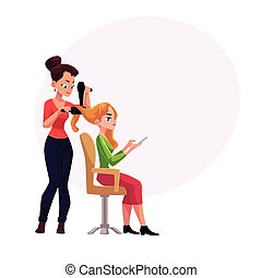 Hairdresser drying hair of blond woman with hairbrush and dryer
