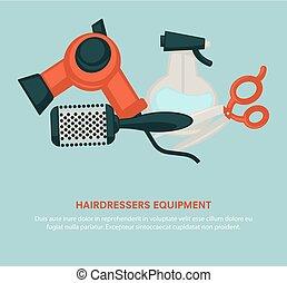 Hairdresser equipment beauty salon poster vector hair dryer,...