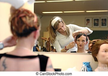 Hairdresser, hair dressing 3. - A daughter working on mother...
