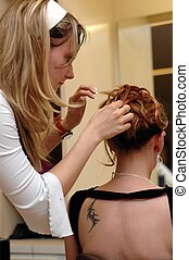 Hairdresser, hair dressing 4. - A daughter working on mother...