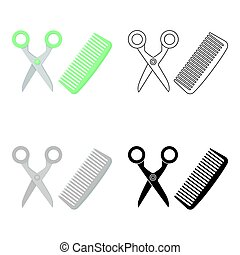Hairdresser icon in cartoon style isolated on white background. Cat symbol stock vector illustration.