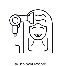 Hairdresser icon, linear isolated illustration, thin line vector, web design sign, outline concept symbol with editable stroke on white background.
