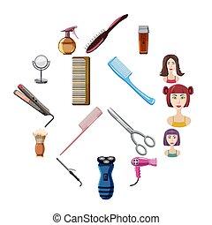 Hairdresser icons set, cartoon style