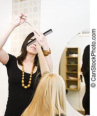 Hairdresser in action