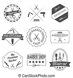 Hairdresser haircut barber shop label set isolated vector illustration