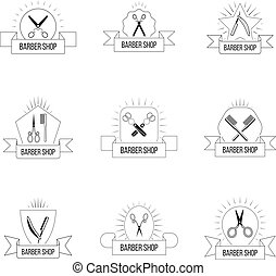 Hairdresser logo set with vintage scissors. Hair salon retro badges