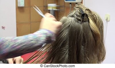 hairdresser make hairstyle long haired woman in beauty salon. 4K