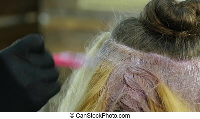 hairdresser makes hairstyle, dye for a teenager in a beauty...