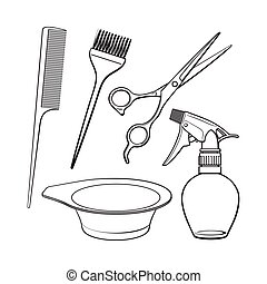 Hairdresser objects like scissors, brush, comb, coloring...