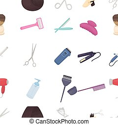 Hairdresser pattern icons in cartoon style. Big collection of hairdresser vector illustration symbol.