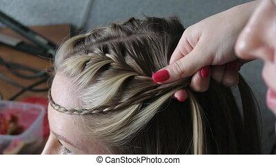 Hairdresser plating hair