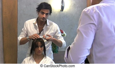 portrait of young woman in hair salon. 30 fps
