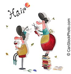 Hairdresser salon - Artistic work. Watercolors on paper