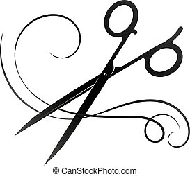 Hairdresser scissors and curl of hair
