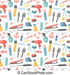 Hairdresser seamless pattern vector.