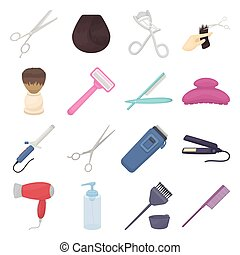 Hairdresser set icons in cartoon style. Big collection of hairdresser vector illustration symbol.