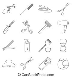 Hairdresser set icons in outline style. Big collection of hairdresser vector illustration symbol.