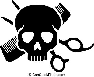 Hairdresser skull with comb an scissor