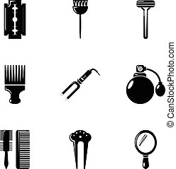Hairdresser tools icons set, simple style