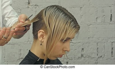 Hairdresser trimming blond hair with scissors. Professional...