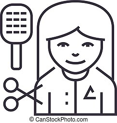 hairdresser vector line icon, sign, illustration on background, editable strokes