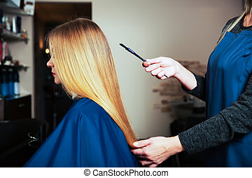 Hairdresser with brush behind young female.