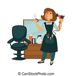 Hairdresser woman in hair beauty salon with hairdressing equipment vector flat icon