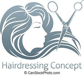 Hairdresser Woman Scissor Concept - A beautiful woman having...