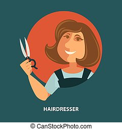 Hairdresser woman with scissors vector flat poster for hair...