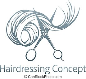 Hairdressers Scissors Concept of a pair of hairdressers...