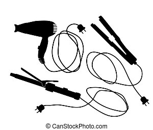 hairdressers - vector silhouettes of a hair dryer and...