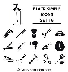 Hairdressery set icons in black style. Big collection of hairdresser vector symbol stock illustration