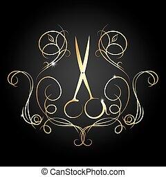 hairdressing, 剪刀, 由于, a, 圖案, ......的, 金, 顏色
