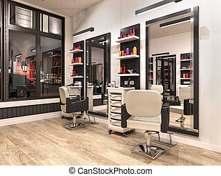 hairdressing, 現代, 3d, 内部, 大広間, イラスト