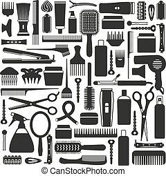 hairdressing, equipamento, ícone, set.