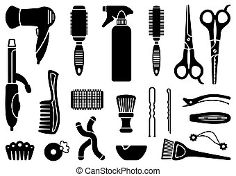 Hairdressing equipment icon set.