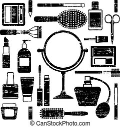 Hairdressing equipment icon set.