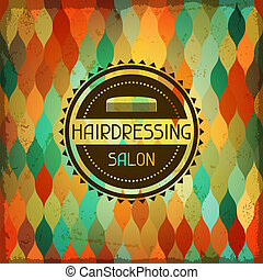 hairdressing, hintergrund, in, retro, style.