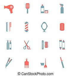 Hairdressing Icons Set.