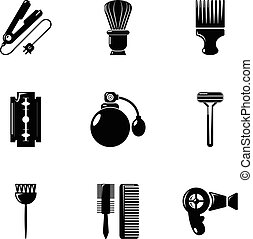Hairdressing salon icons set, simple style