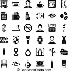 Hairdressing salon icons set, simple style - Hairdressing...