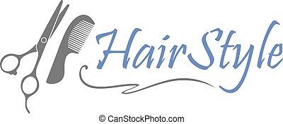 Hairdressing scissors and comb. Design for barbershop logo