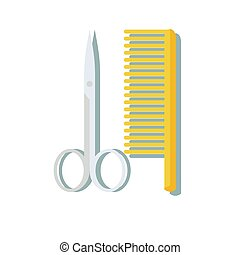hairdressing scissors and comb isolated on white