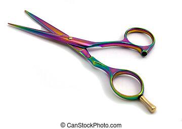 hairdressing scissors - Professional colored scissors close...